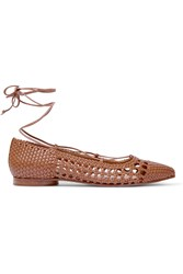 Michael Kors Kallie Woven Leather Point Toe Flats Tan