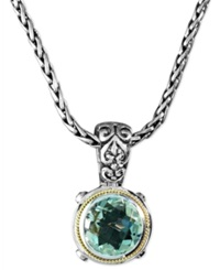 Effy Collection Balissima By Effy Green Quartz Round Pendant 5 Ct. T.W. In Sterling Silver And 18K Gold