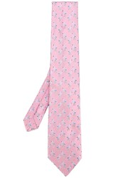Etro Flamingos Printed Tie Pink Purple