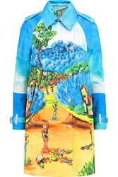 Stella Jean Printed Cotton Poplin Trench Coat Blue