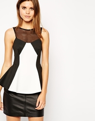 Asos Peplum Top In Monochrome Mesh Black