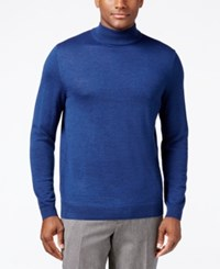 Club Room Men's Merino Mock Neck Sweater Classic Fit Crew Blue Heather