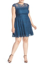 Bb Dakota Plus Size Women's 'Rhianna' Lace Fit And Flare Dress Lake Blue