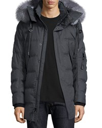 Andrew Marc New York Puffer Parka With Removable Fur Trimmed Hood Charcoal Andrew Marc Grey