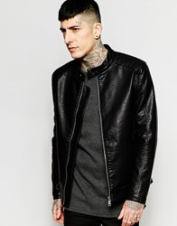 Only And Sons Faux Leather Jacket Black