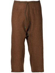Dosa Cropped Trousers Brown