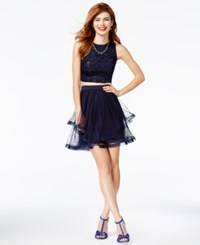 Teeze Me Juniors' 2 Pc. Sequined Lace Tiered Dress Navy