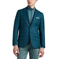 Sartorio Pg Plaid Wool Two Button Sportcoat Olive