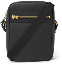 Tom Ford North South Full Grain Leather Messenger Bag Black