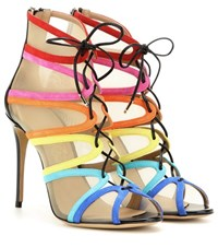 Edgardo Osorio For Salvatore Ferragamo Amber Lace Up Suede Peep Toe Ankle Boots Multicoloured