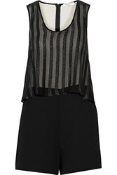 Sandro Crinkled Chiffon And Cady Romper Black