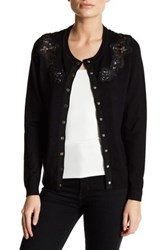 Chelsea And Theodore Long Sleeve Lace Detail Cardigan Petite Black