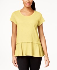Styleandco. Style And Co. Layered Look Peplum T Shirt Only At Macy's Soft Sun