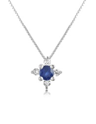 Incanto Royale Diamond And Sapphire Flower 18K Gold Pendant Necklace Blue