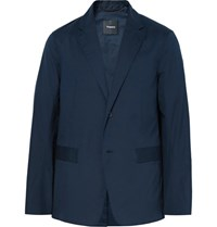 Theory Blue Park Hybrid Slim Fit Unstructured Cotton Blazer Navy
