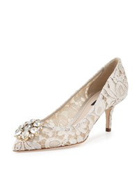 Dolce And Gabbana Jewel Embellished Lace Pump Ghiaccio