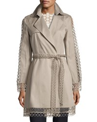Elie Tahari Kathy Lace Trimmed Trench Coat Brown