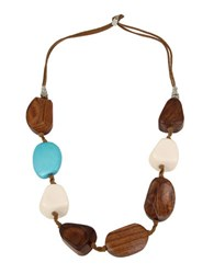 Robert Lee Morris Turquoise Blast Mixed Beaded Suede Station Necklace
