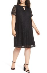 Eci Plus Size Keyhole Neck Lace A Line Dress Black