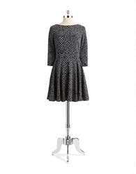 Ali Ro Animal Print Fit And Flare Dress Grey Black