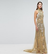 A Star Is Born High Neck Maxi Dress With Allover Embellishment In Pattern Gold