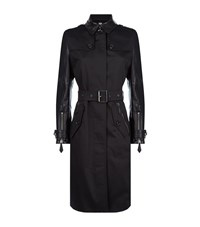 Burberry Brit Earlsdale Leather Sleeve Trench Coat Female Black