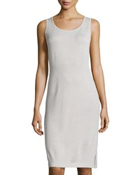 St. John Swimwear Scoop Neck Knit Tank Dress Platinum