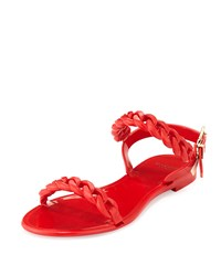 Givenchy Jelly Chain Link Flat Sandal Red
