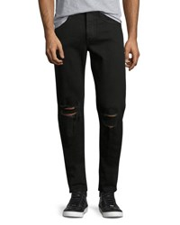Rag And Bone Standard Issue Fit 1 Slim Skinny Jeans With Ripped Knees Black
