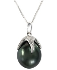 Effy Collection Effy Cultured Tahitian Pearl And Diamond 1 2 Ct. T.W. Claw Pendant In 14K White Gold Gray