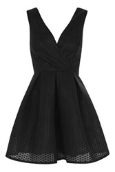 Oh My Love Textured Plunge Skater Prom Dress By Black