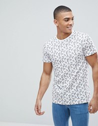 Solid T Shirt With Bird Print White
