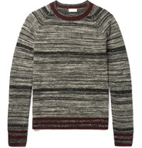 Dries Van Noten Melange Striped Cashmere Blend Sweater Black