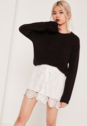 Missguided All Over Lace Tie Waist Short White White