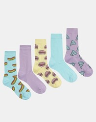 Asos Socks 5 Pack With Pastel Fast Food Design Multi