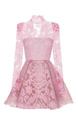Alex Perry Orion Lace Long Sleeve Mini Pink