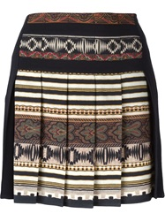 Etro Aztec Print Pleated Skirt Black