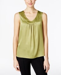 Kasper V Neck Satin Shell Limezest