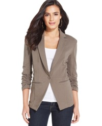 Style And Co. Solid Knit Fitted Blazer Only At Macy's Warm Taupe