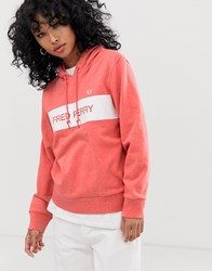 Fred Perry Logo Stripe Hoodie Red