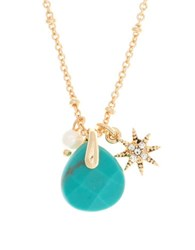 Lonna And Lilly 4Mm Faux Pearl Reconstituted December Birthstone Charm Necklace Turquoise