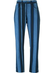 Dolce And Gabbana Striped Cropped Jeans Blue
