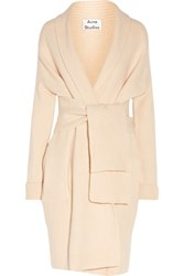 Acne Studios Helena Belted Paneled Wool Cardigan Cream