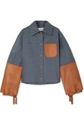 Loewe Cropped Cotton Twill And Leather Jacket Navy