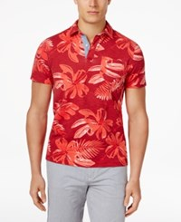 Tommy Hilfiger Men's Kevin Graphic Print Short Sleeve Polo Cerise Red