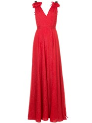 Prabal Gurung Deep V Neck Gown Red