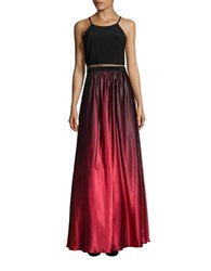 Betsy And Adam Ombre Contrast Gown Black Red