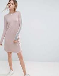 Asos Bodycon Midi Dress With Stripe Sleeve Detail Nude Grey Pink