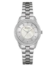 Bulova Crystal Accented Stainless Steel Watch Silver