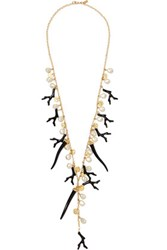 Kenneth Jay Lane Gold Tone Enamel And Faux Pearl Necklace One Size